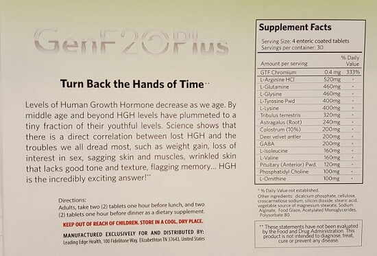 Genf20 plus ingredients