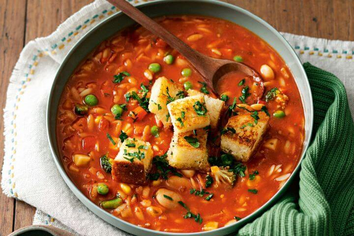 Minestrone Soup and French Stick