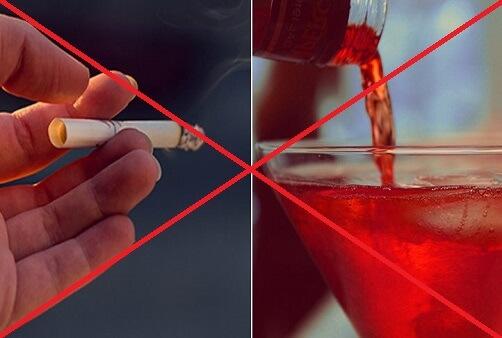 avoid smoking and boozing